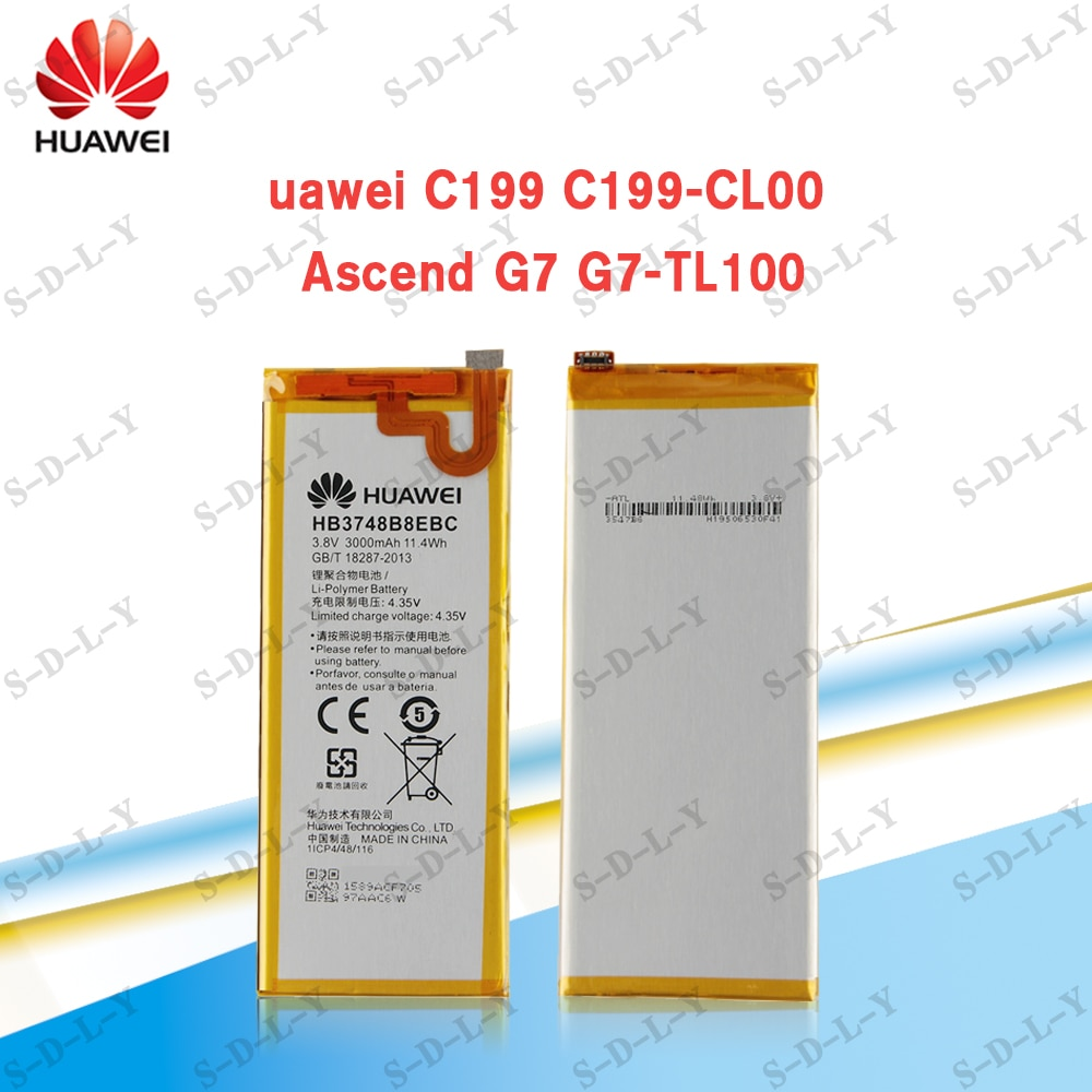 100% Original Battery For Huawei C199 Ascend G7 G7-TL100  HB3748B8EBC 3000mAh For Huawei C199 C199-CL00 Mobile Phone+ tools enlarge