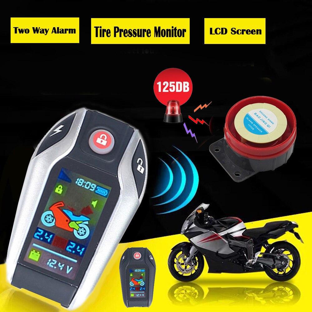 شاشة LCD إنذار للدراجات النارية قفل تلقائي/فتح نظام الأمن اتجاهين مكافحة سرقة إنذار مراقبة ضغط الإطارات بدون مفتاح تشغيل المحرك
