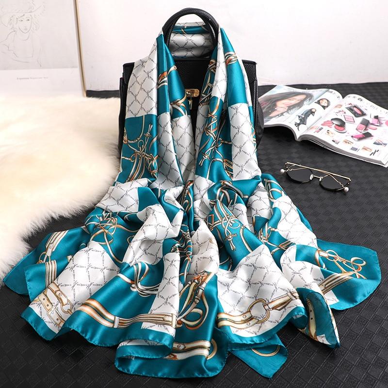 Luxury brand 2019 women scarf silk scarves shawls and wraps print designer pashmina hijabs foulard femme beach stoles bandana