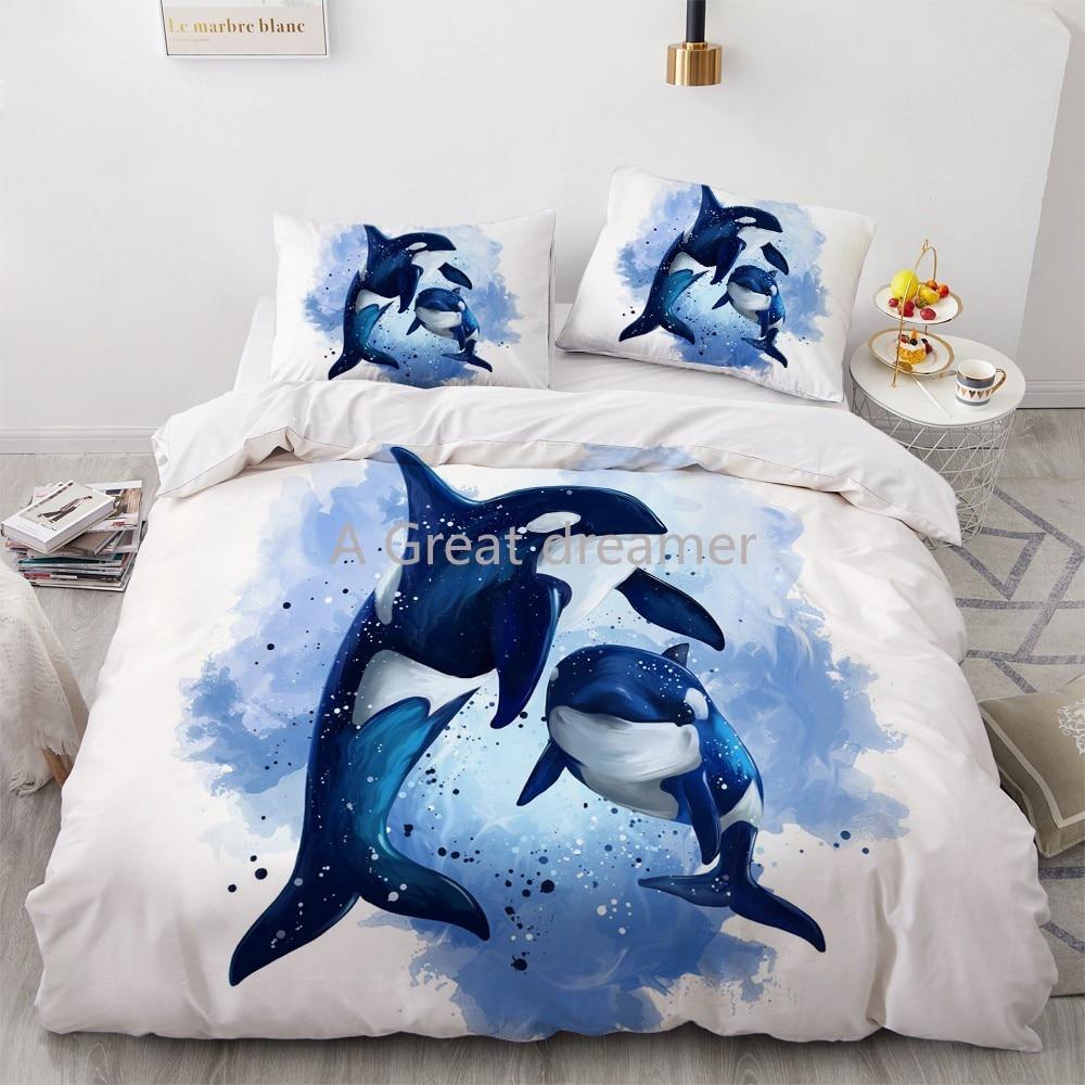 ثلاثية الأبعاد طقم سرير دولفين الأزرق البحر حاف مجموعة تغطية مبطنة لطيف المعزي أغطية سرير المخدة الملك الملكة كامل المنزل Texitle هبوط السفينة