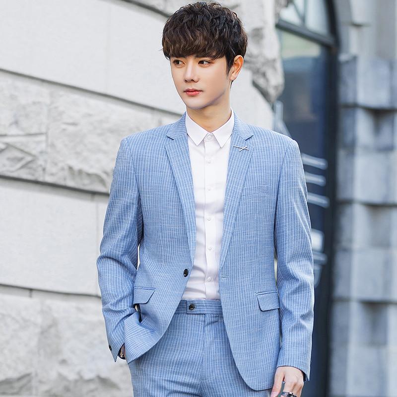 2021 autumn new men's casual Korean fashion trend Slim handsome trendy business suit jacket