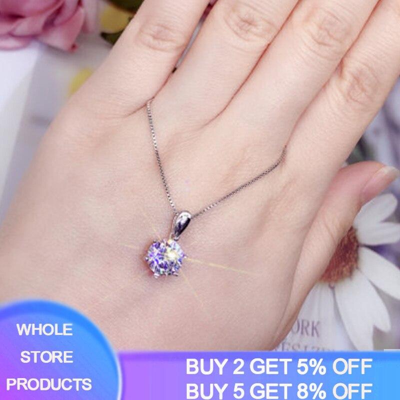 ¡Se vende a pérdida! Collar de diamantes de laboratorio clásico de lujo con cadena de oro blanco Color plata 925 collar de regalo para mujer