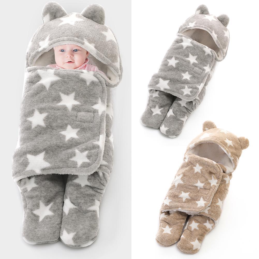 Doble grueso patrón de estrella oso bebé saco de dormir sobres Coral terciopelo envoltura manta baño toalla recién nacido Ropa de cama