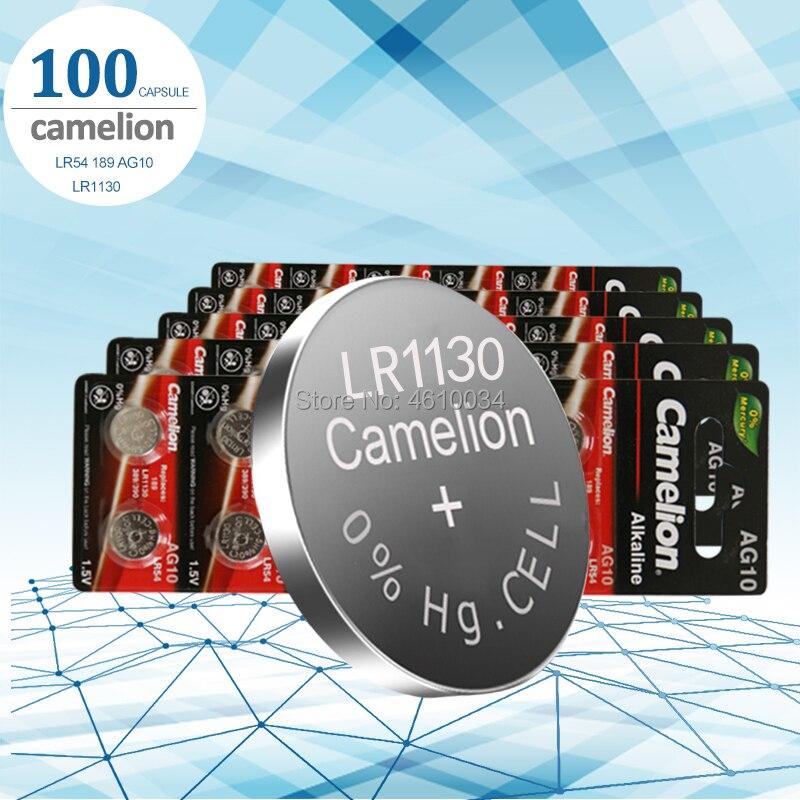 100 шт./лот Camelion 1,5 V AG10 LR1130 щелочные AG10 389 LR54 SR54 SR1130W 189 LR1130 кнопочные батареи для монет LR 1130