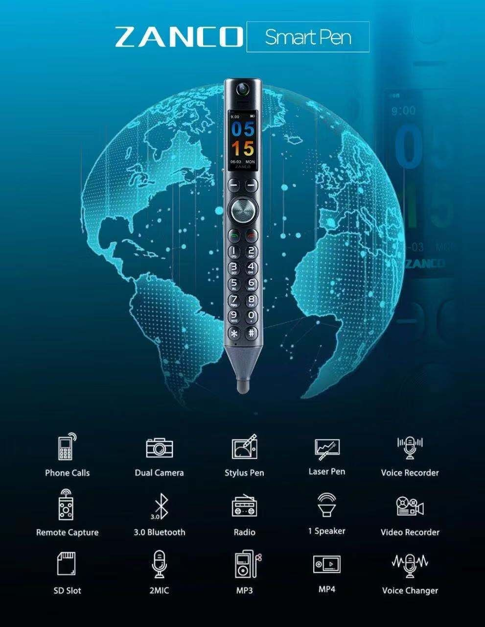 ZANCO Smart Pen World Thinnest Mobile Phone easy to carry phone Bluetooth headset stylus Smart pen