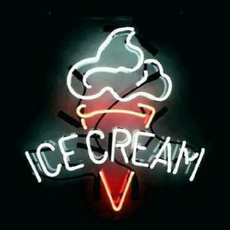 Custom Ice Cream Open Glass Neon Light Sign Beer Bar