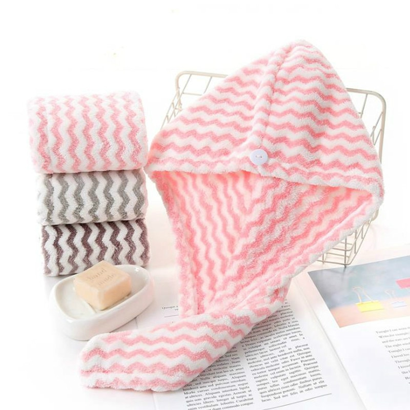 Toalla de pelo de secado rápido toallas de baño para mujeres toalla mágica de microfibra raya baño cabello seco sombrero gorro de turbante para la cabeza herramientas de baño