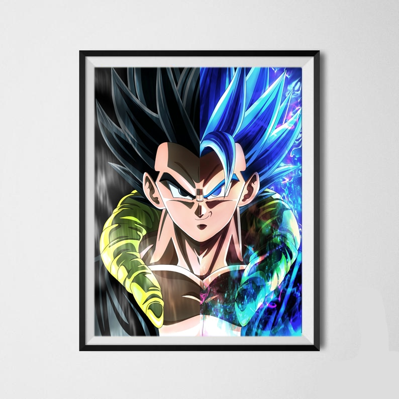 DBZ, Póster Artístico de diseño único de Dragon Ball SSJ Legend Super Saiyan Goku, póster para decoración de dormitorio, 8x10 pulgadas, listo para colgar