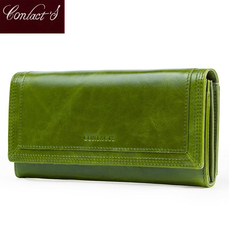 Portefeuilles de femmes de mode de Contact avec porte-carte en cuir véritable longue pochette conception de marque femme porte-monnaie poche de téléphone portable