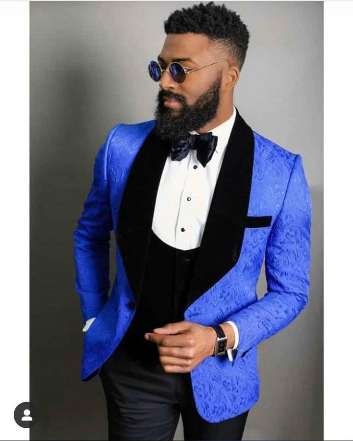 بدلة رجالية من 3 قطع ، أزرق ملكي ، جاكيت مع بنطلون ، بدلة زفاف ، بدلة زفاف ، بدلة ضيقة ، Terno Masculino ، حفلة موسيقية ، بليزر ، أسود