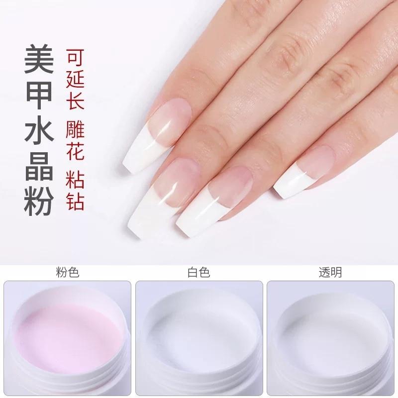 Blanco rosa claro 3 colores Nail Art acrílico polvo acrílico cristal uñas manicura polímero Nail Art herramienta para uñas DIY para maquillaje
