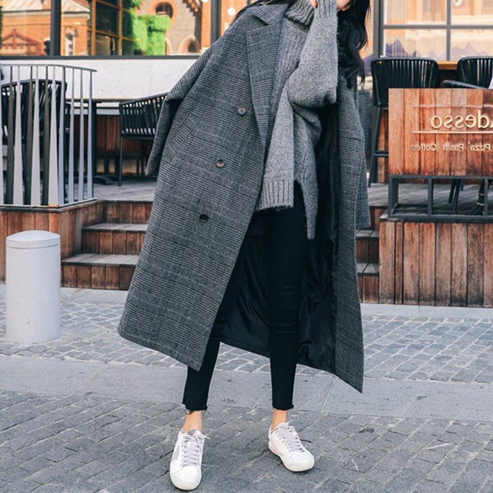 Woolen Coat Women Lattice New 2021 Autumn Winter Thicken Warm Korean Fashion Long Sleeve Loose Casua
