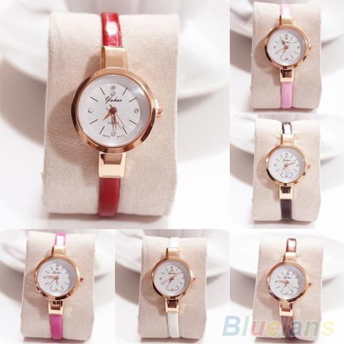 Women Wrist Watch Rhinestone Faux Leather Band Super Thin Slim Strap Clock Quartz Analog Wrist Watch reloj mujer Ladies Watch La