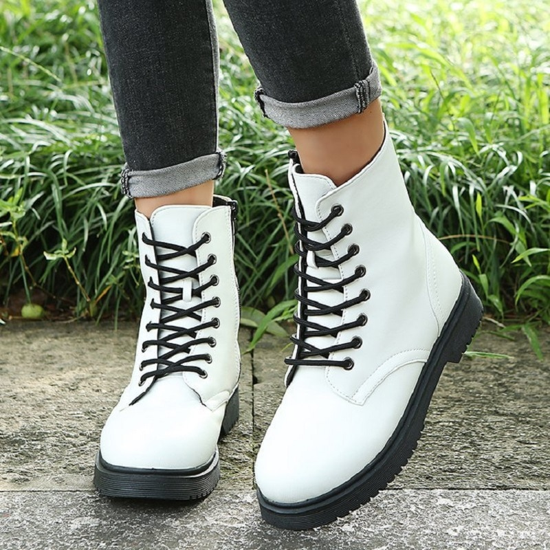 Autumn Winter Boots Women Mid Boots Thick-Soled PU Leather Boots Casual Martin Boots Fashion Lace-Up High Boots Botas De Mujer women autumn winter fashion pu ankle martin flat boots waterproof lace shoes patent leather block thick high heel