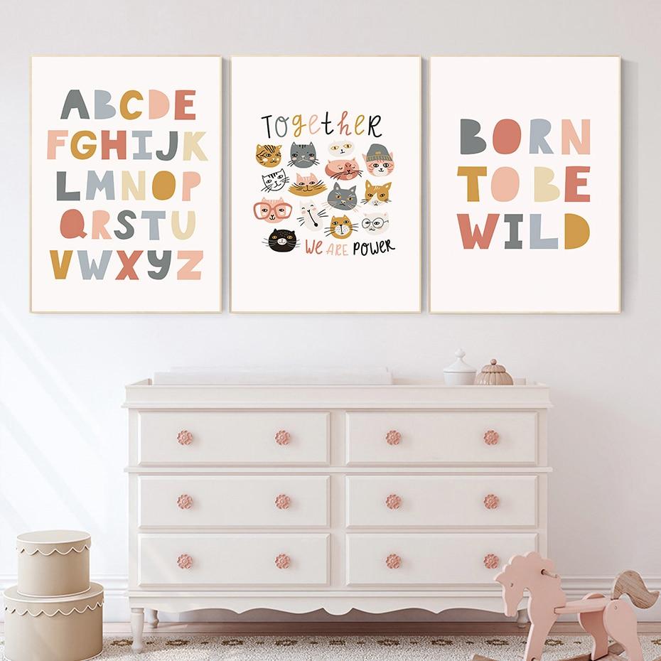 Póster de guardería del alfabeto ABC para niños, arte de pared con...