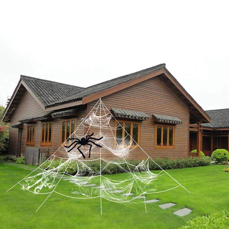 Halloween decorações gigante elástico horror preto aranha web com 90cm preto grande aranha terror festa barra assombrada casa adereços