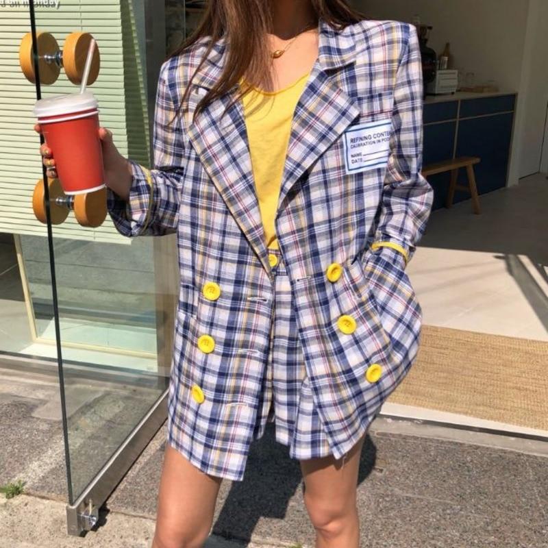 Tvvovvin conjuntos de blazers femininos 2019 primavera coréia xadrez casacos casuais manga comprida jaquetas cintura alta shorts ternos duas peças f215