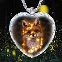 summer new forest series cute fox crystal glass women pendant jewelry fashion charm women handmade necklace pendant birthday hol