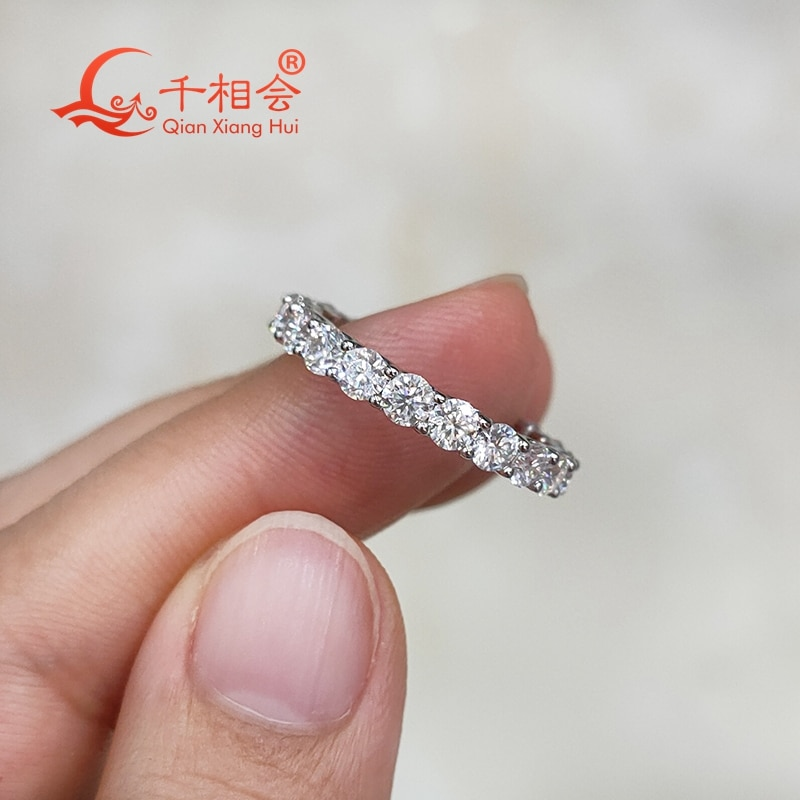 0.1ct  3mm round shape  white moissanite full of stone  band  ring  925 Sterling Silver Rings Jewelry Rings Engagement