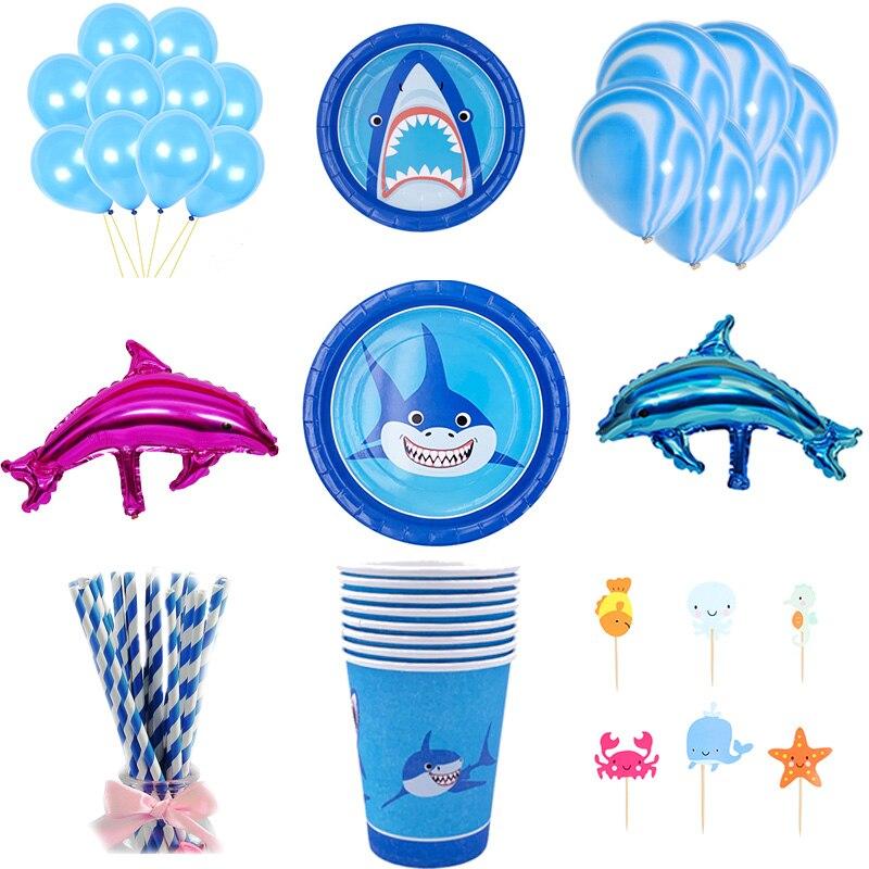 2020 Cute Shark Fiesta Temática Baby Shower Boy Shark cumpleaños fiesta tiburón platos/tazas/papel mantel suministros Decoración