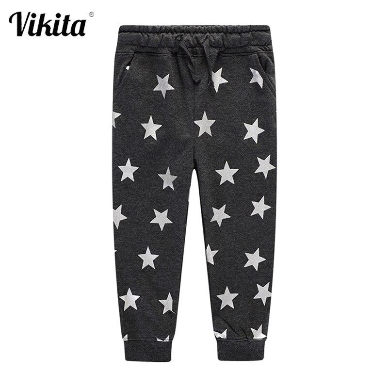 VIKITA niños niñas otoño pantalones niños algodón estampado de estrellas pantalones niños pequeños bebé niños niñas de la Escuela Deportiva Casual interior Pantalones