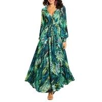 floral print boho maxi dress sexy lady bohemian autumn long dress women beach dresses female robes party dresses