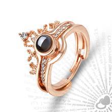 Juego de anillos de boda de lujo para mujer, anillo de proyección DE IDIOMAS I Love You 100, anillo de amor romántico para amantes de la memoria, joyería