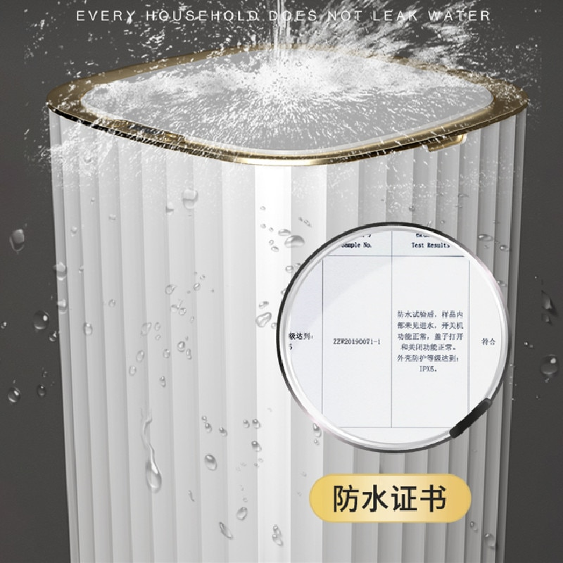 Automatic White Trash Can Living Room Sensor Waterproof Smart Creative Trash Can Kitchen Storage Cubo Basura Household Products enlarge