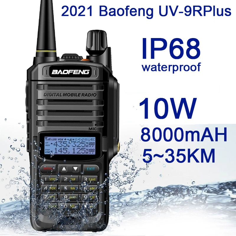 2021Nieuwe Baofeng UV-9RPlus 10W IP68 Walkie Talkie Waterdichte Dual Band Portable Cb Jacht Ham Radio UV9RPlus U/VHF Transceiver