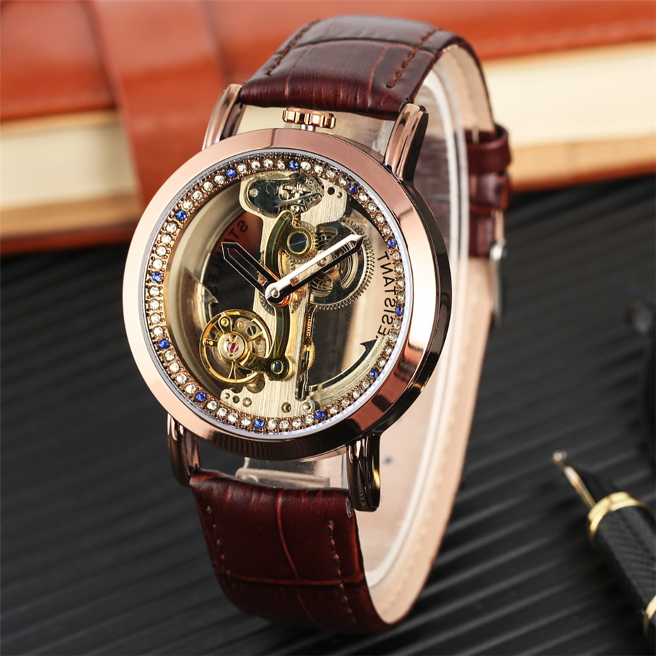 2020 New Mens Watches Men Mechanical Watches Transparent Mens Watches Automatic Timepiece Leather Wr