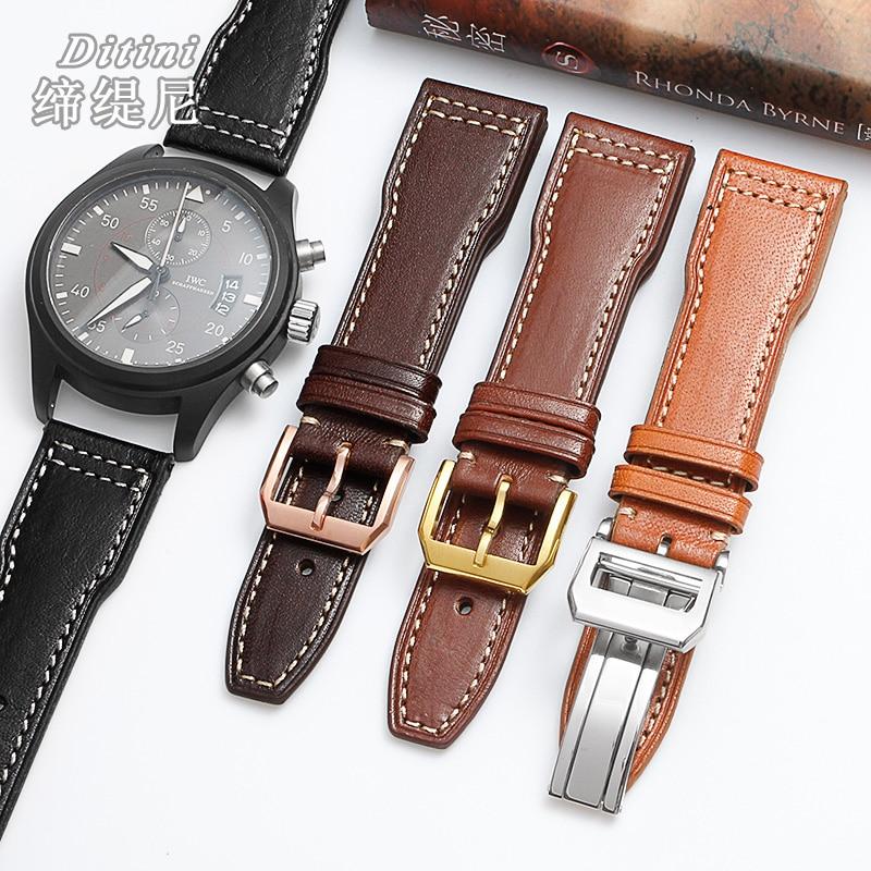 Correa de reloj para hombre 18 20 21 22mm correa de cuero genuino pulsera para la hebilla de metal de pilot mw327004 377714