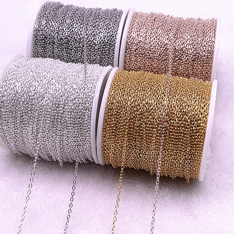 5yards Golded/silvered Plated Necklace Chain for Jewelry Making Findings DIY Necklace Chains Materials Handmade