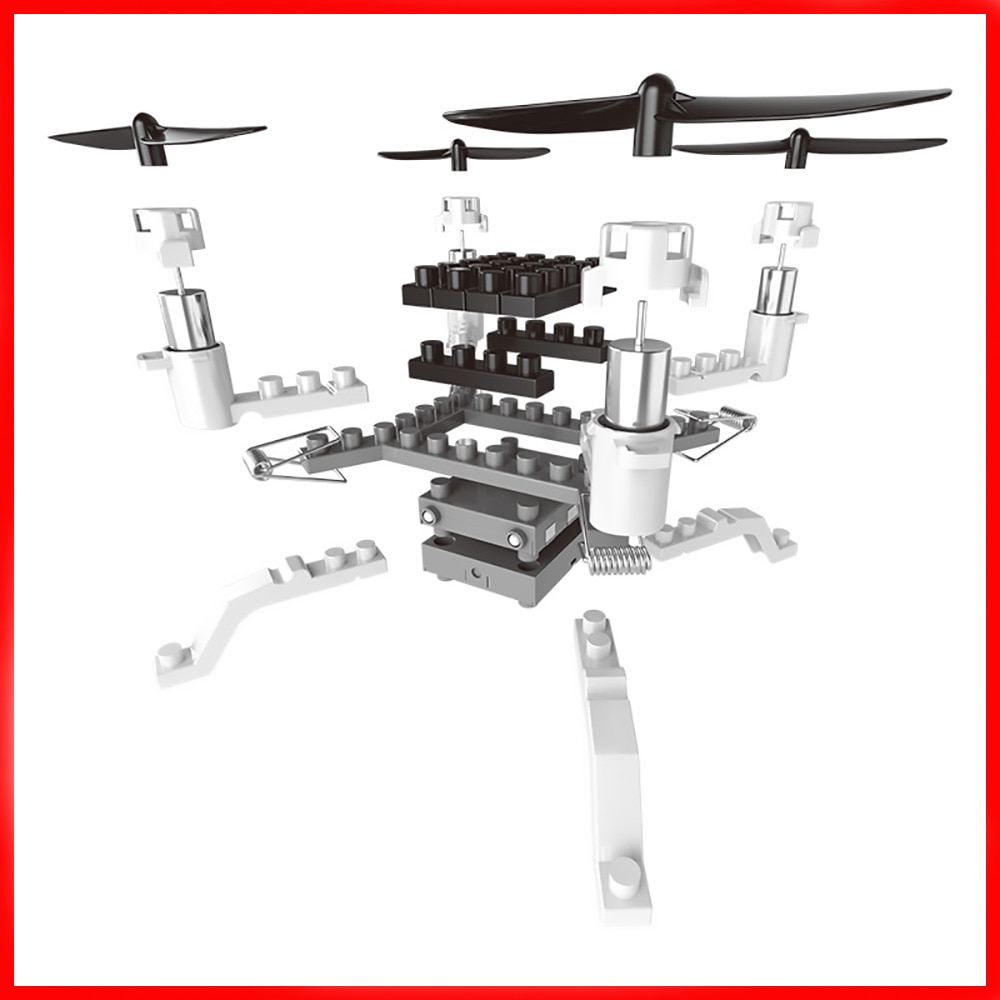 12CH HD Camera Helicopter DIY Building Blocks Drone 2.4G Mini 3D Bricks Quadcopter Assembling Educational Toy