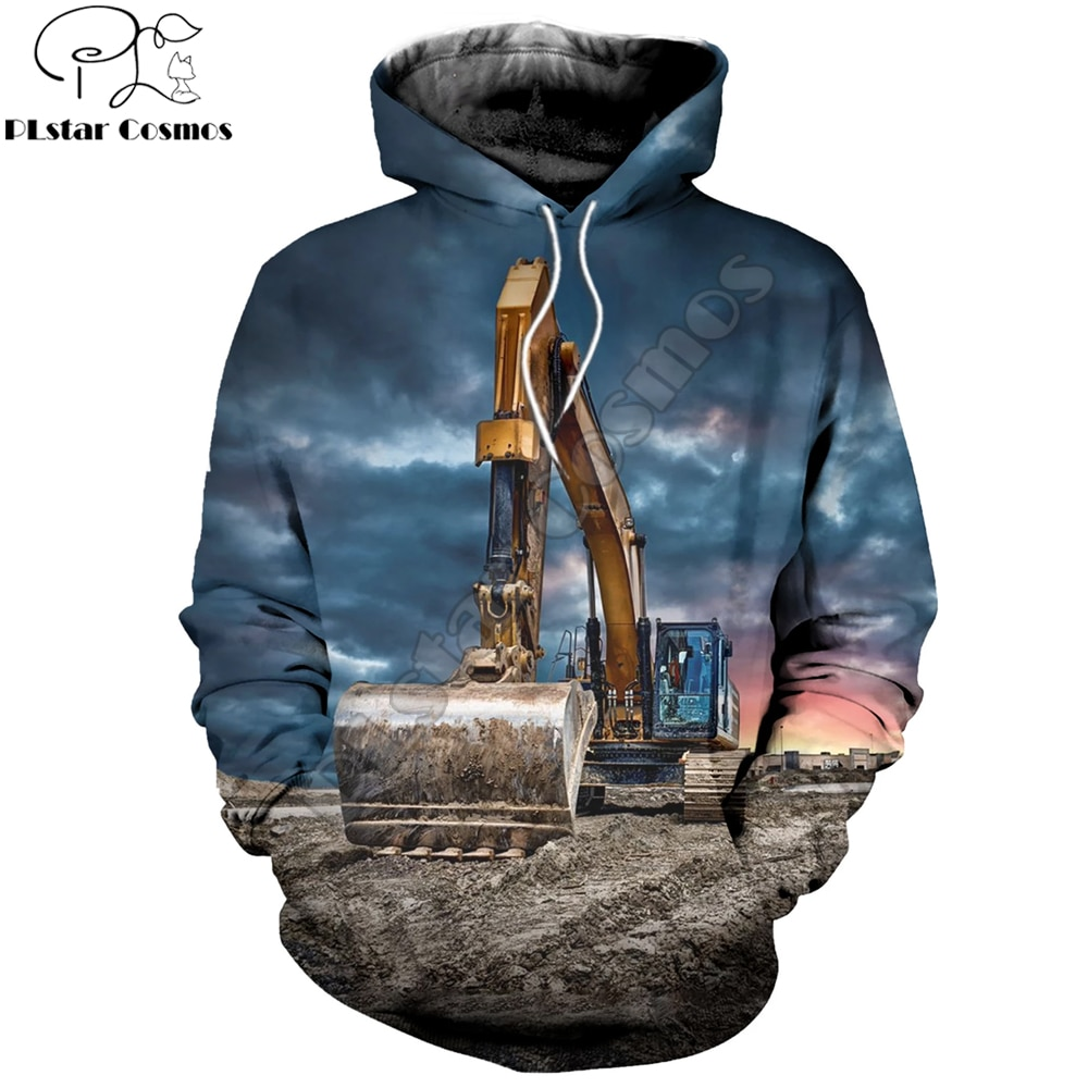 PLstar Cosmos 2019 New style Fashion Mens Hoodie 3D printed Excavator Funny Sweatshirt Harajuku streetwear sudadera hombre