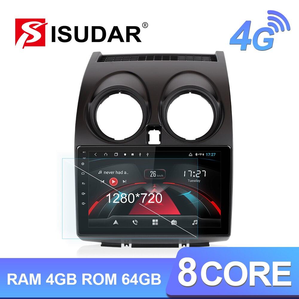Isudar H53 4G Android 1 Din Auto Radio para Nissan Qashqai 1 J10 2006-2013 coche Multimedia GPS 8 Core RAM 4GB ROM 64GB Cámara DVR