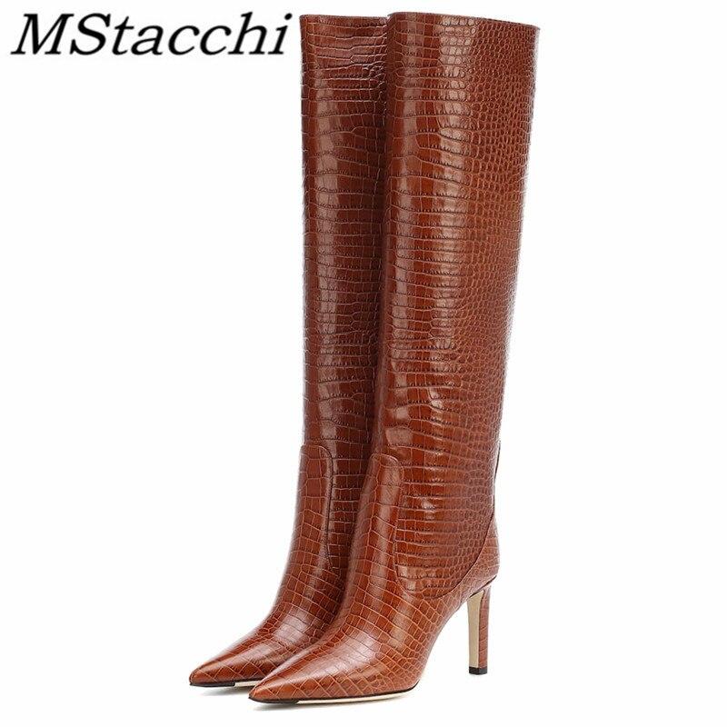Mstafchi النساء حذاء برقبة للركبة التمساح موضة طباعة رقيقة عالية الكعب أحذية السيدات مثير أشار تو حزب النساء عالية بوتاس موهير