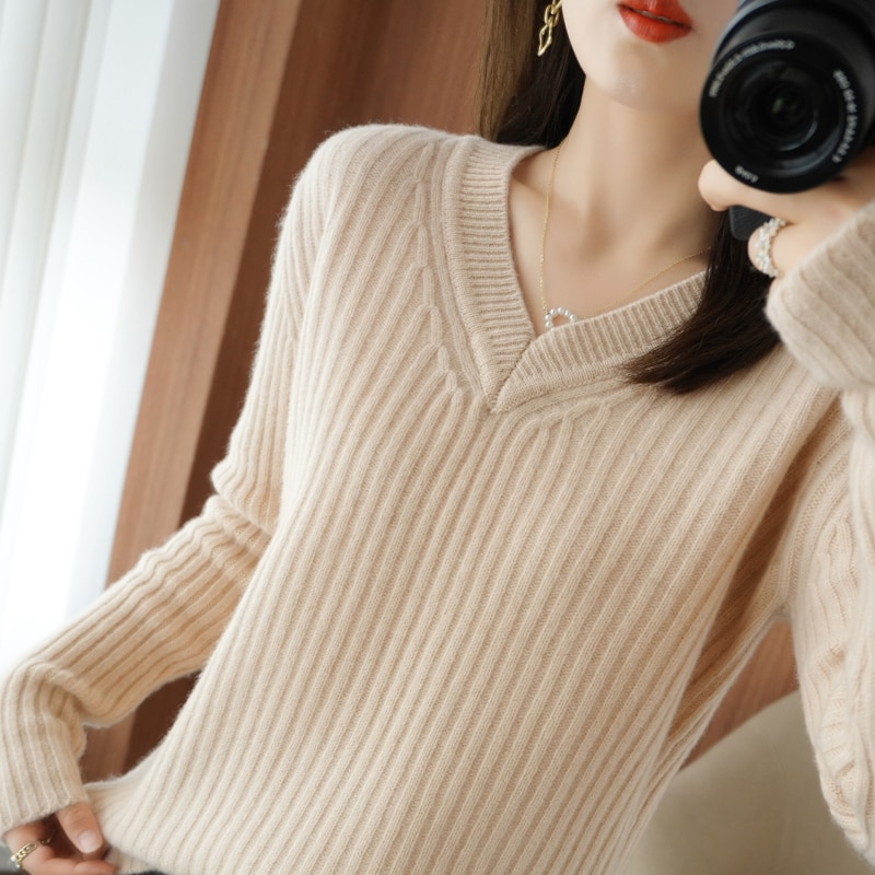 2021 fall/winter new women's pullover casual XXL 100% wool sweater loose Korean version V-neck cashmere sweater women's thick enlarge