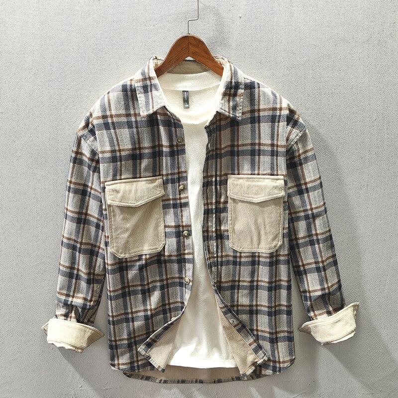 ملابس الرجال 2021 خريف شتاء جديد الرجال عادية منقوشة خياطة قميص طويل الأكمام التلبيب موضة قمصان الرجال الفقرة Hombre