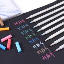 12 Colors/Set Metallic Marker Pen DIY Journal Scrapbooking Brush Pen For Ceramic Glass Crafts Card Art Drawing Stationery