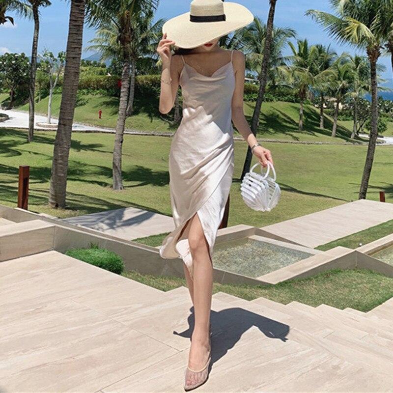 امرأة عادية مثير الخامس الرقبة شاطئ فستان ستان المنزل الإناث مثير بروتيل فساتين الربيع تانك كاميس فستان صيفي
