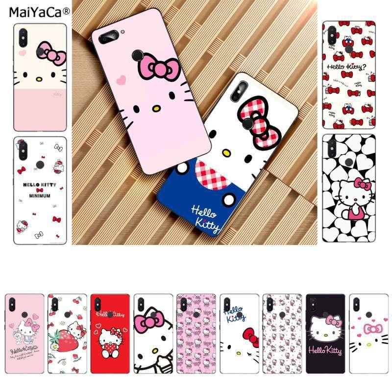 MaiYaCa bonita caricatura Rosa hello kitty TPU silicona suave negro Funda de teléfono para Xiaomi 8 9 se Redmi 6 pro 6A 4X 7 note 5 7