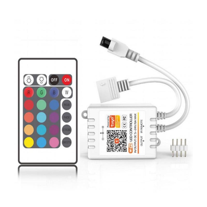 Tuya RGB/RGBW LED Licht Gürtel Controller 24 Schlüssel IR Fernbedienung Arbeit Mit Alexa Google/Amazon Alexa tuya Smart APP Control