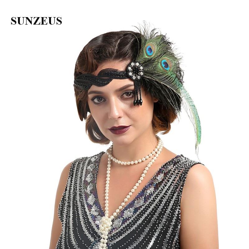 Diadema Vintage con plumas para mujer, diadema con cuentas y borlas para...