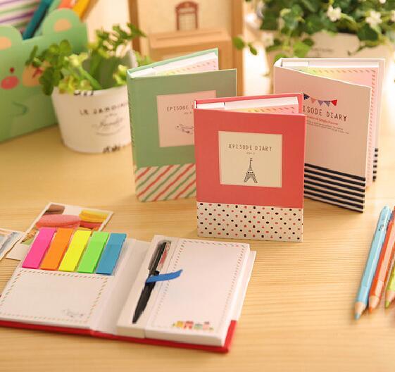 Juego de bloc de notas Torre N veces con bolígrafo autoadhesivo lindo notas adhesivas cuaderno papelería etiqueta Bloc de notas útiles escolares
