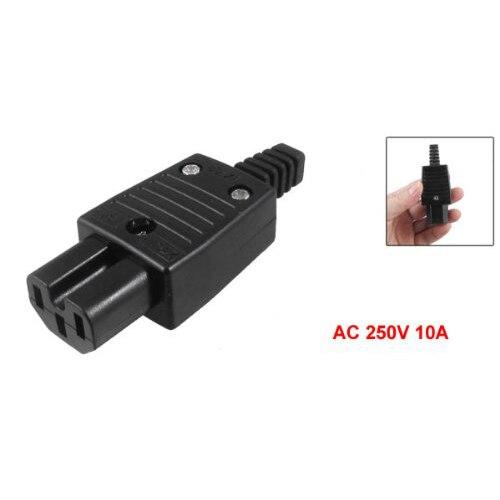 Conector adaptador de toma de corriente hembra IEC320 C15 negro AC 250V 10A