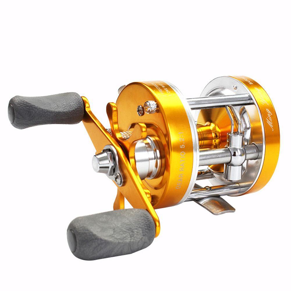 Carrete de pesca de freno doble Baitcaster carrete de pesca 2 + 1 Bear ratio 5,2 1 Golden derecho/mano izquierda señuelo carrete de pesca