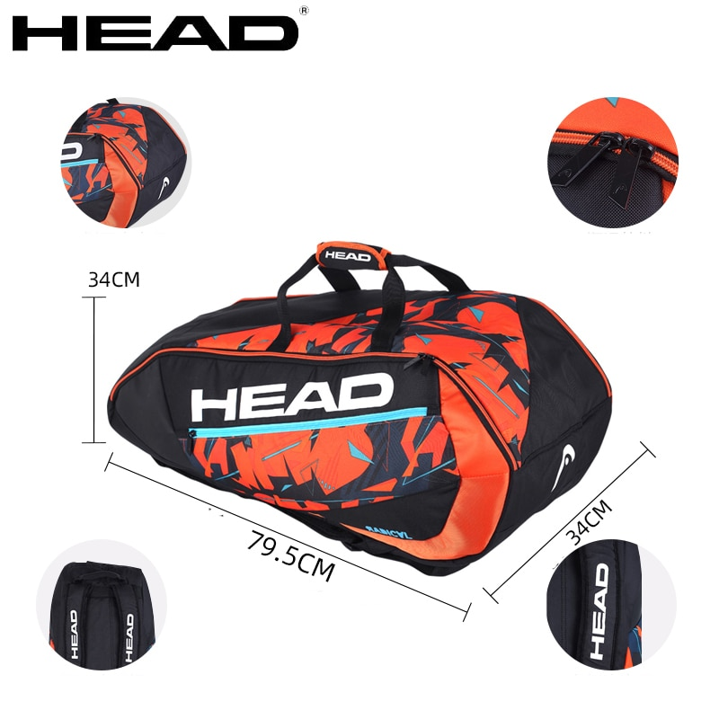 6-9 Pack HEAD Limited Edition Tennis Bag L4/5 Djokovic Tennis Racket Backpack Large Capacity Squash Badminton Gym Sport Backpack head сумка для 9 ракеток head djokovic 9r supercombi