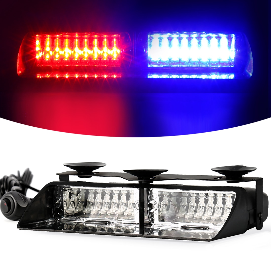 16 LED Strobe Signal Emergency Police Windshield Warning Beacon Lights Red Blue Yellow Amber White G