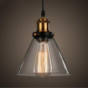 Americal Glass Suspension Light Transparent Vintage Industrial Hanging Lamp E27 Kitchen Dining Living Room Pendant Light Fixture