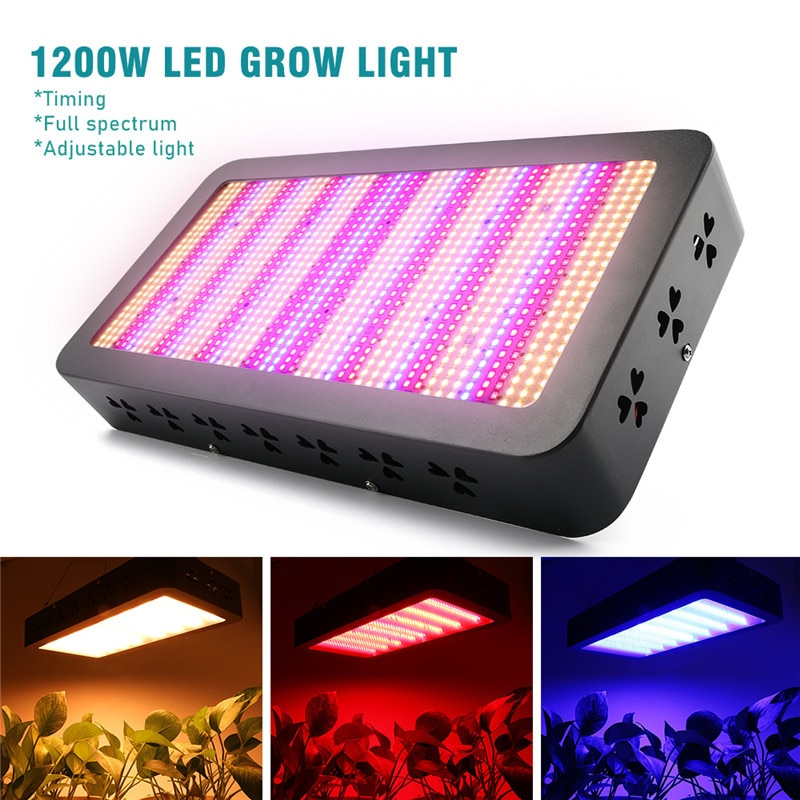 New 1200W LED Grow Light Full Spectrum Timing 3 Switches 7 Light Modes Phyto Lamp for Indoor Greenhouse All Plant Growing Stages enlarge